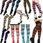 21Fashion Colorful Party Emo Over Knee School Holiday Argyle Socks