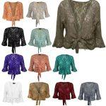 21Fashion New Womens Ladies Plus Size Lace Sequin Tie UP 3/4 Flared Sleeve Shrug Bolero Top