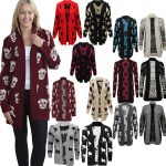 21Fashion New Womens Owl Printed Ladies Long Sleeve Knitted Winter Cardigan